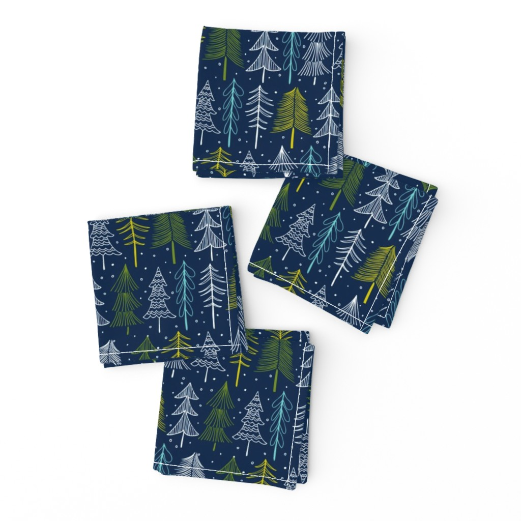 Frizzle Cocktail Napkins featuring Oh' Christmas Tree - Navy Blue by heatherdutton