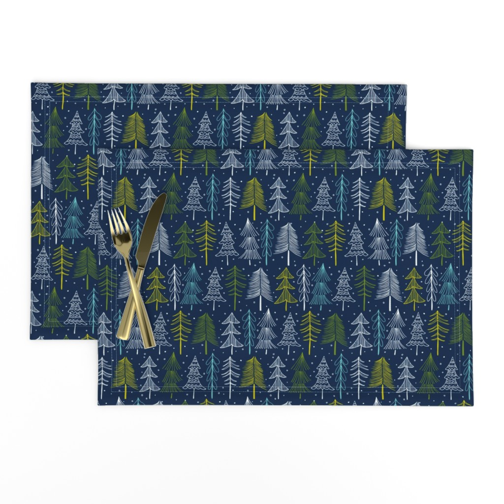 Lamona Cloth Placemats featuring Oh' Christmas Tree - Navy Blue Regular Scale by heatherdutton
