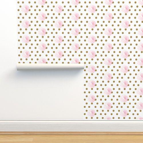 Wallpaper Light Pink Vintage Flower Gold Dots