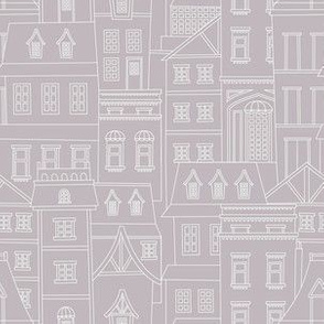 Buildings and Houses - White on Grey
