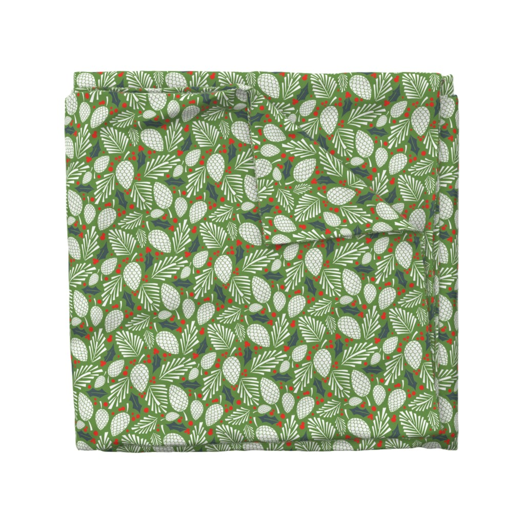 Wyandotte Duvet Cover featuring Winter Woodlands - Pinecones Green by heatherdutton