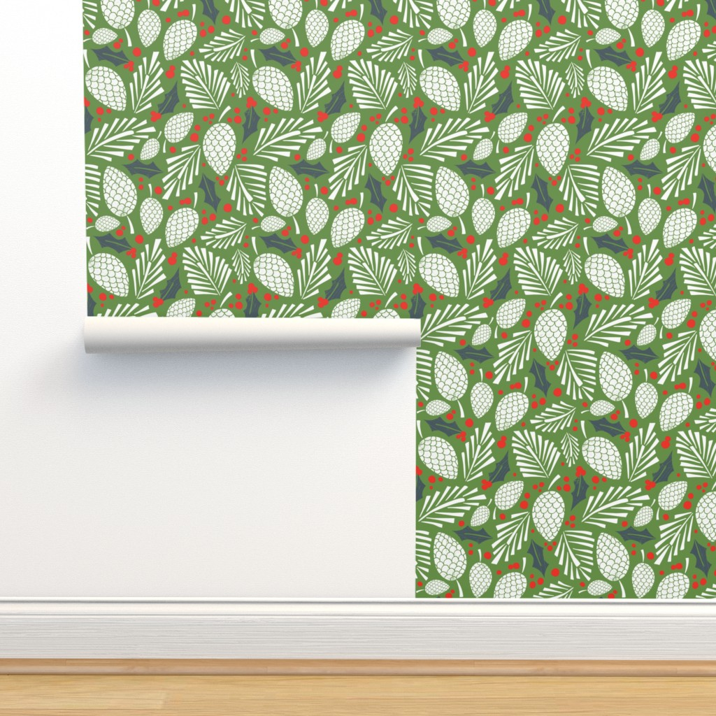 Isobar Durable Wallpaper featuring Winter Woodlands - Pinecones Green by heatherdutton