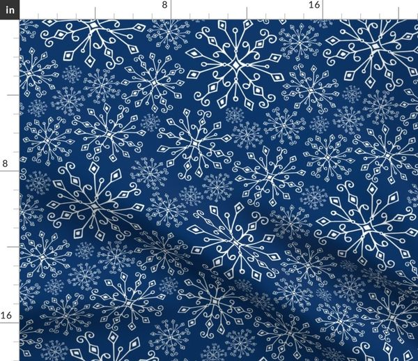 Christmas Snowflakes.Fabric By The Yard