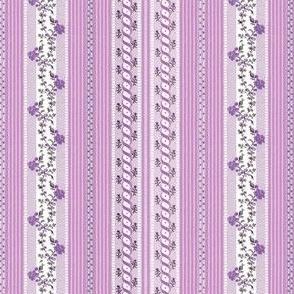 Marie Antoinette Floral Ticking ~ Purple