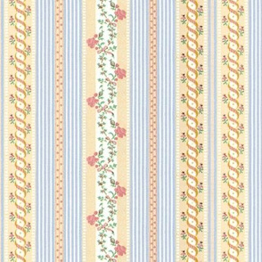 Marie Antoinette Floral Ticking ~ Trianon Cream with Dauphine and Versailles Fog