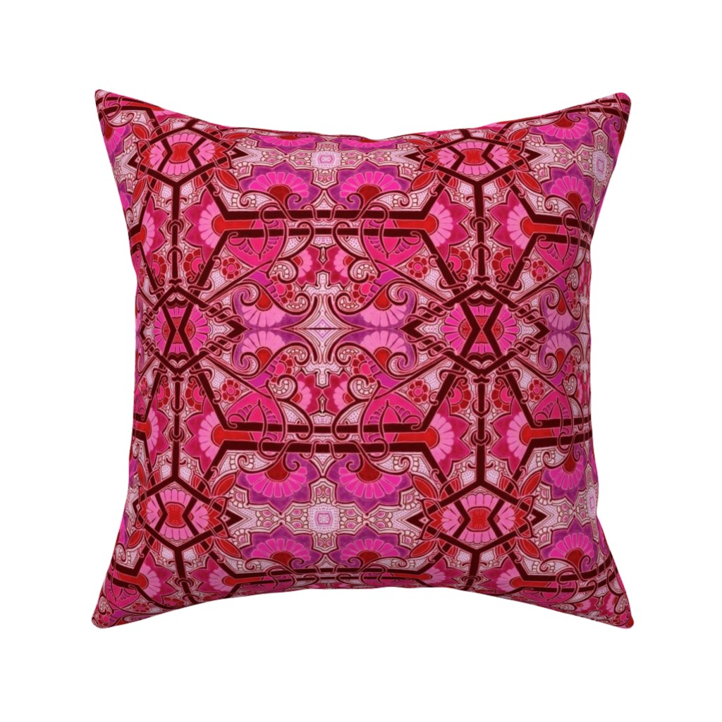 Catalan Throw Pillow featuring Screaming Red Hexagon Gardens by edsel2084