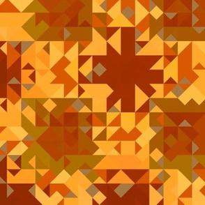 Retro Orange and Wine Geometric