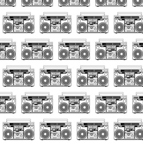 boombox black and white half brick