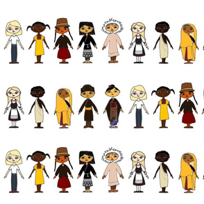 Multicultural Children White Background Border Fabric