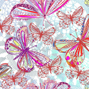 butterflies in vibrant pink
