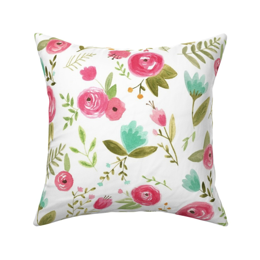 Catalan Throw Pillow featuring Happy Floral by pacemadedesigns