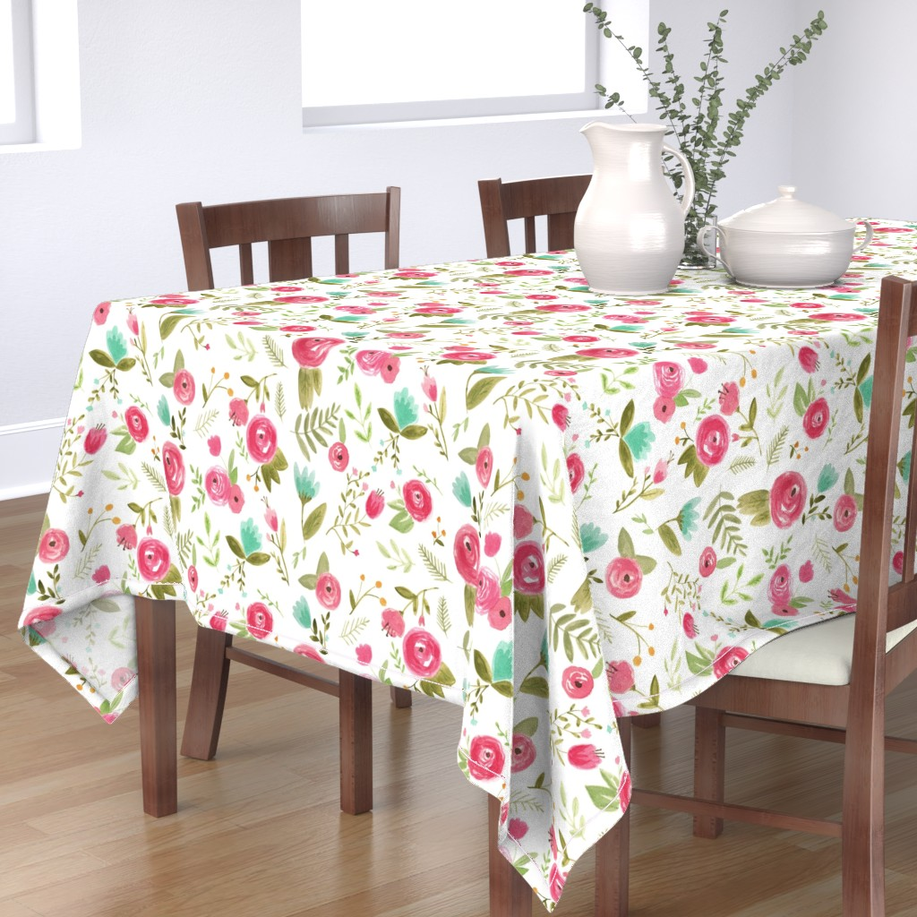 Bantam Rectangular Tablecloth featuring Happy Floral by pacemadedesigns