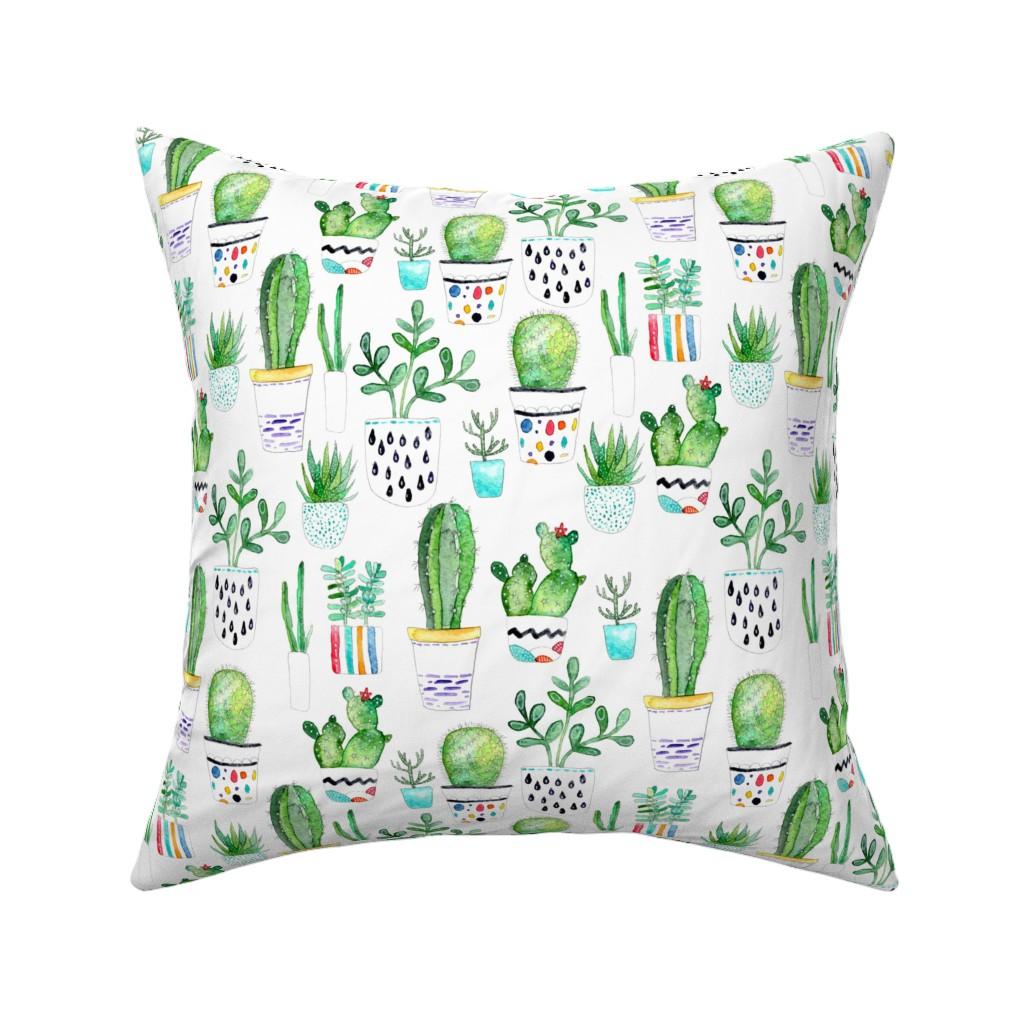 Catalan Throw Pillow featuring Watercolour Succulents, Cactus by emeryallardsmith