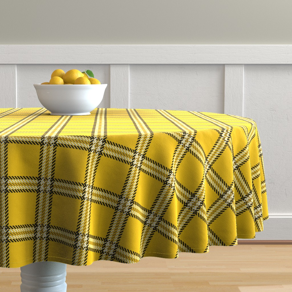 Malay Round Tablecloth featuring Cher's Plaid by elliottdesignfactory