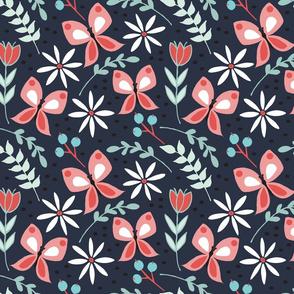 butterfly fabric // butterflies, spring, floral, garden, imperial blue