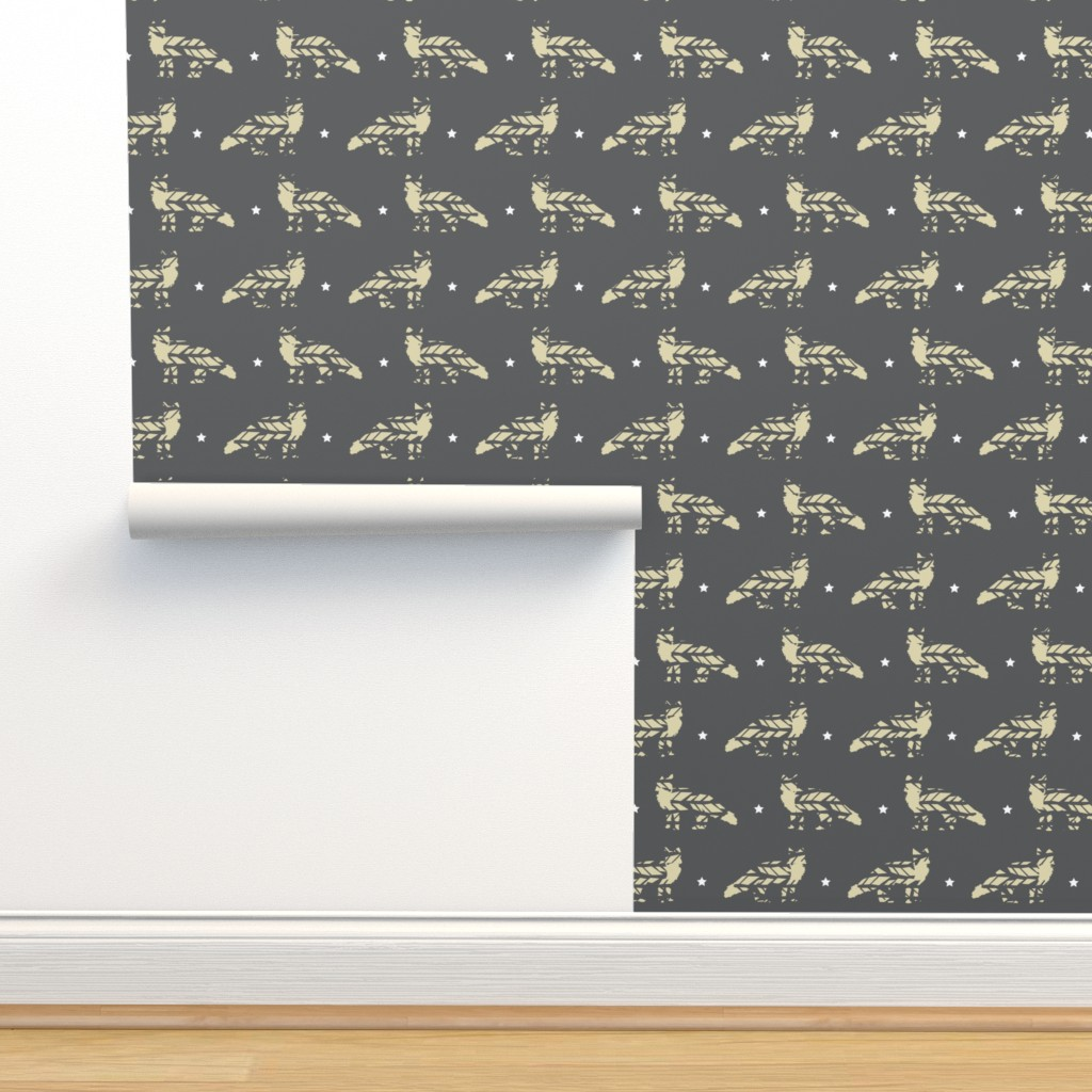 Isobar Durable Wallpaper featuring His Little Friend, Mr. Fox by papercanoefabricshop