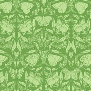 green butterfly damask