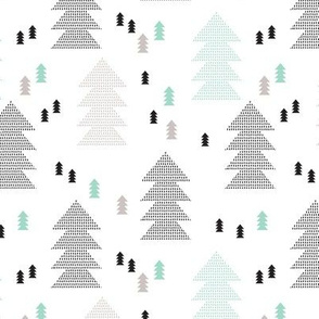 Geometric scandinavian style nordic christmas tree forest theme