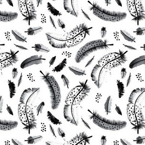 Bohemian winter feathers and geometric arrow and triangle elements watercolor illustration Black and white