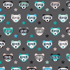 Winter wonderland grizzly bears with snow and ski goggles on winter snowboard adventure night