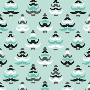 Christmas tree barber mustache french hipster theme illustration