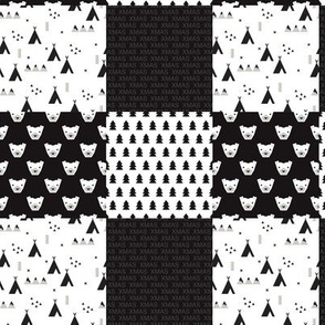 Kids christmas patchwork scandinavian teepee bears chistmas trees and lettering patchwork design black and white