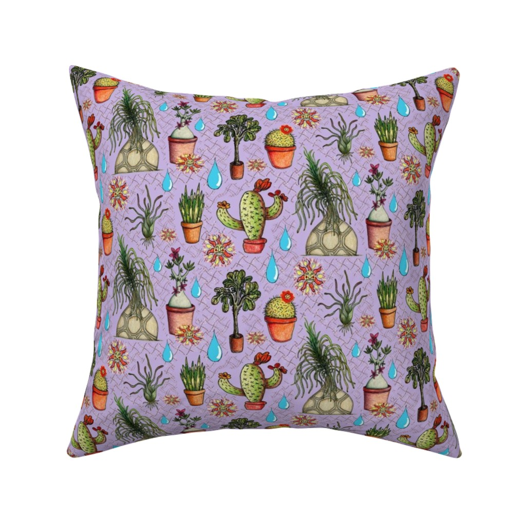 Catalan Throw Pillow featuring botanical sketches of some favorites, large scale, lavender purple green by amy_g