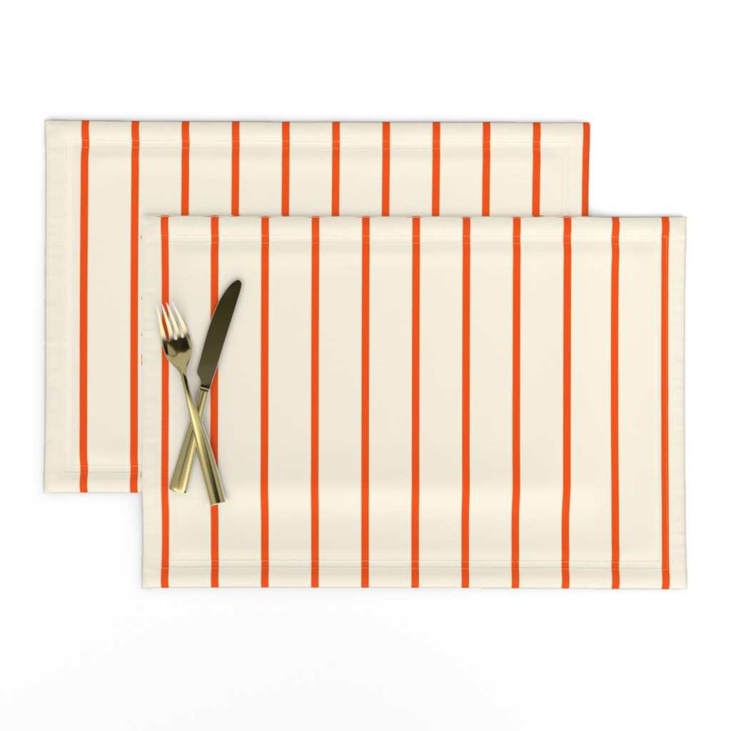 Lamona Cloth Placemats featuring Marquise Orange and Cosmic Latte Stripe  by peacoquettedesigns
