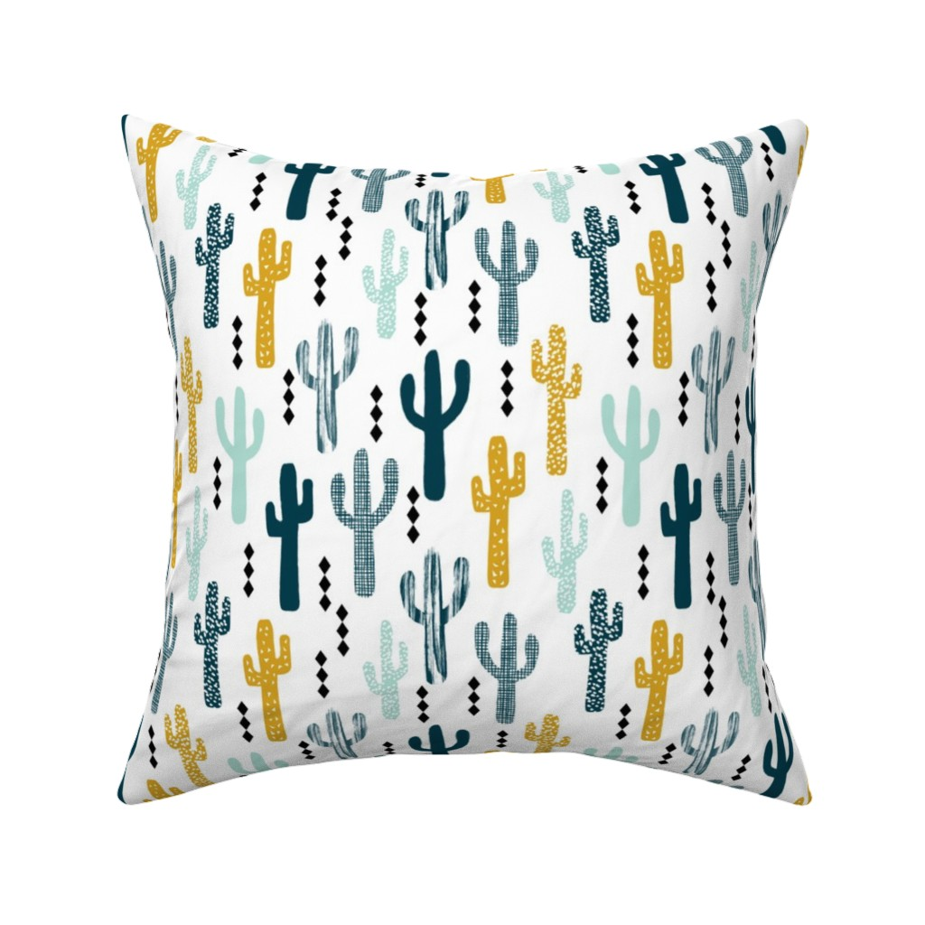 Catalan Throw Pillow featuring cactus mustard mint navy kids tri minimal white background trendy design for ss16 tropical trendy southwest kids nursery clothing baby decor by charlottewinter