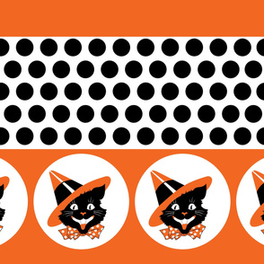 Cat Witch Polka Dot Border