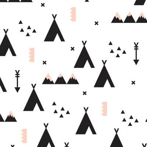 Indian teepee winter woodland with arrow and geometric mountain range and cross details black and white