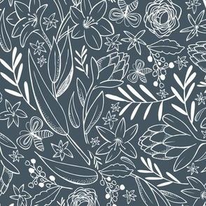 Botanical Sketchbook - Floral Midnight Blue