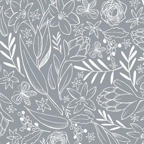 Botanical Sketchbook - Floral Slate Gray