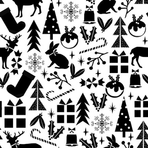 christmas black and white minimal scandi trendy presents holiday tree christmas forest fir tree snowflake design