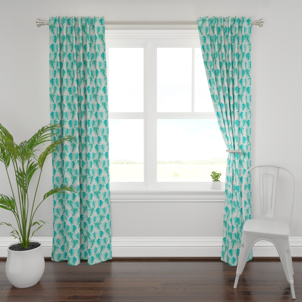 Plymouth Curtain Panel featuring Paradise Palms Blush by mjmstudio