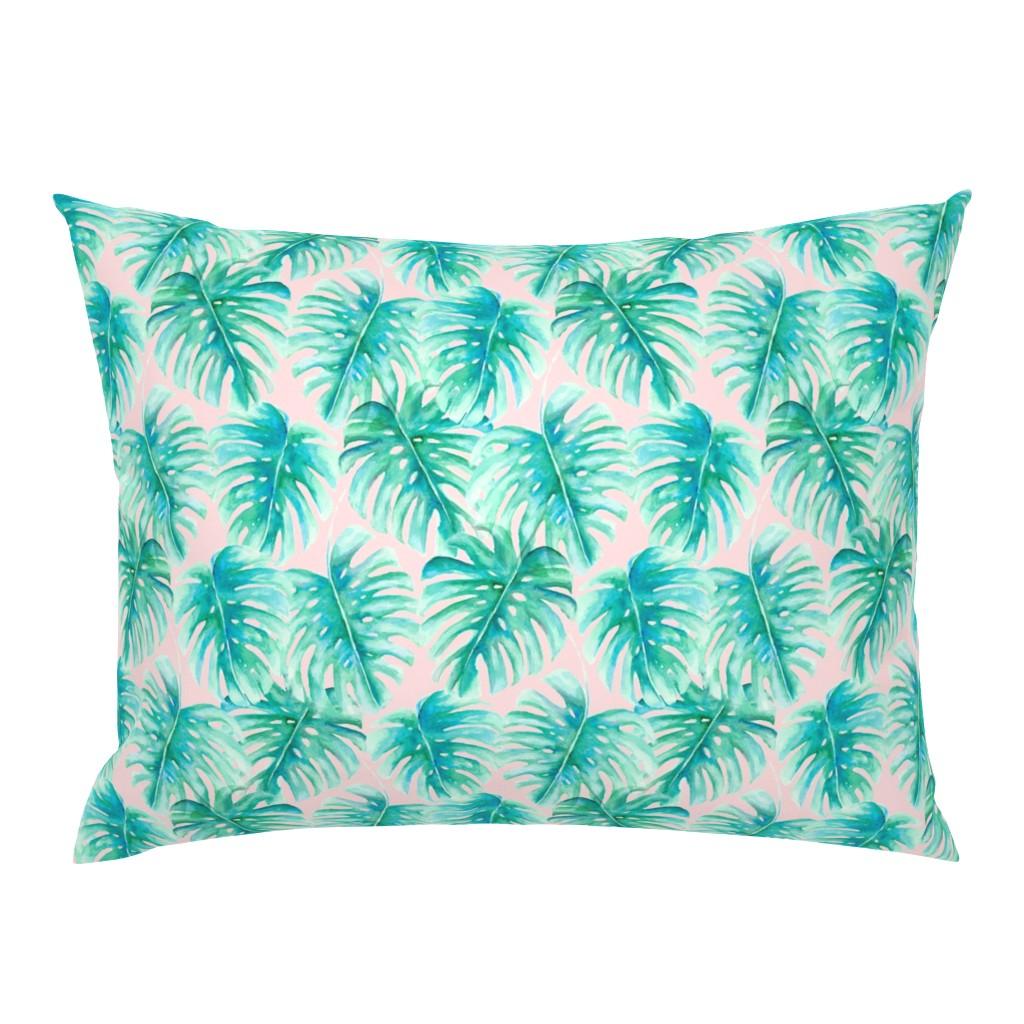 Campine Pillow Sham featuring Paradise Palms Blush by mjmstudio
