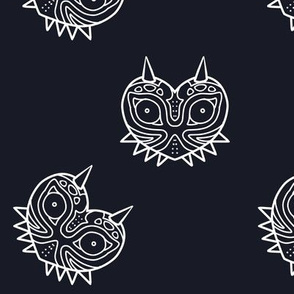 Scary Mask Fabric - Navy and White