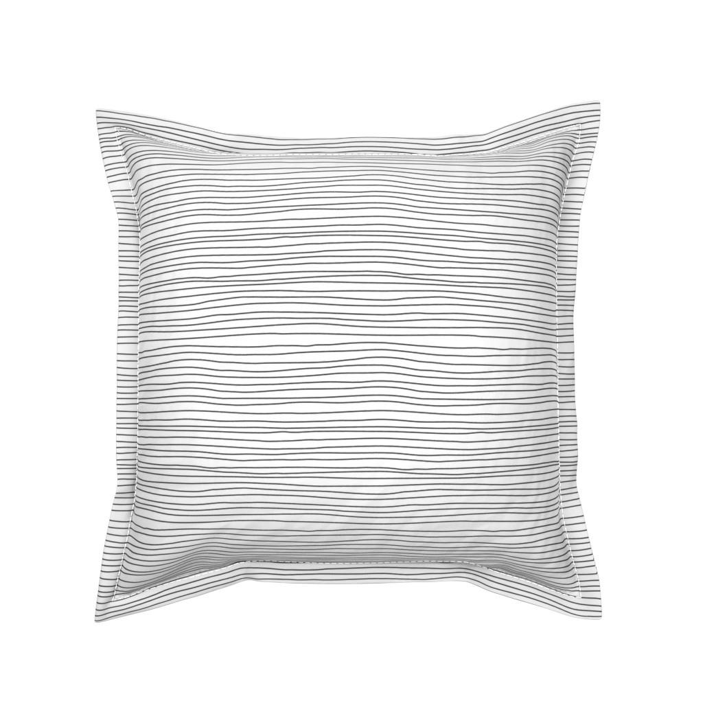 Serama Throw Pillow featuring stripes black on white by igotstripes_studio