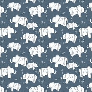 Origami Elephant - Payne's Grey (Small Version) by Andrea Lauren