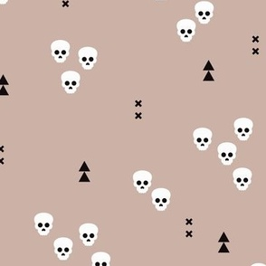 Skulls geometric halloween horror illustration in gender neutral beige