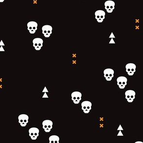 Skulls geometric halloween horror illustration in orange and black