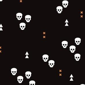 Skulls geometric halloween horror illustration in orange and black