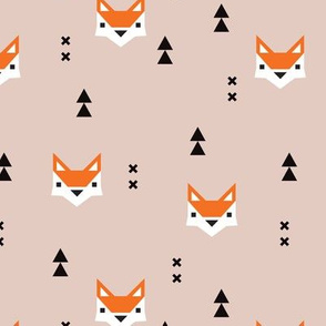 Cute geometric fox illustration scandinavian style fall pattern design in gender neutral orange