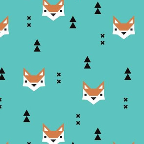 Cute geometric fox illustration scandinavian style fall pattern design in blue