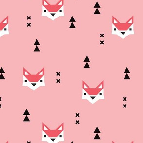 Cute geometric fox illustration scandinavian style fall pattern design in pink