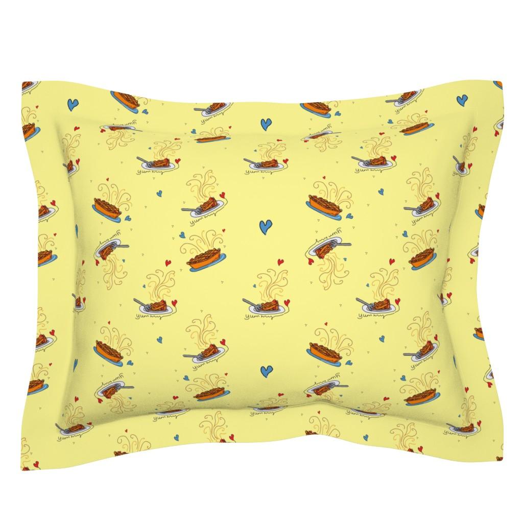 Sebright Pillow Sham featuring I Like Pie!! - yellow by designergal