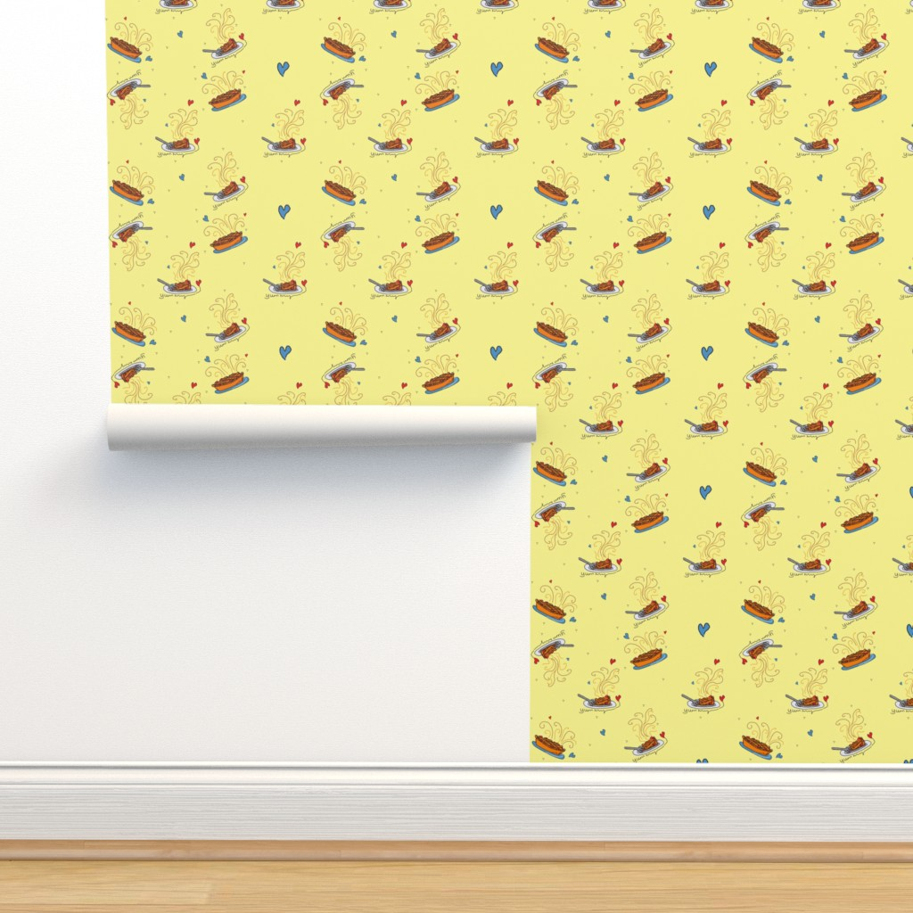 Isobar Durable Wallpaper featuring I Like Pie!! - yellow by designergal