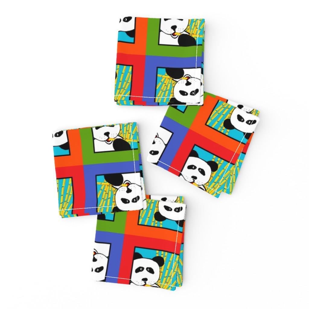 Frizzle Cocktail Napkins featuring Panda 4-Square by designergal