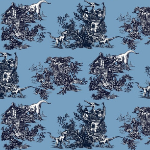 Jurassic toile blue and navy