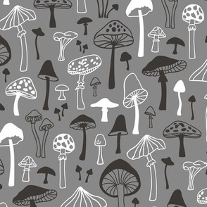 Mushrooms Fall Autumn Forest Black&White on Gray